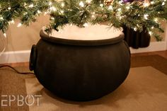 Plant Your Christmas Tree In a Potter-Inspired Tree Cauldron! Harry Potter Classroom, Harry Potter Decor, Harry Potter Christmas Ornaments, Christmas Crafts, Homemade Halloween Decorations, Halloween Ideas, Xmas Tree, Christmas Trees, Paper Mache Crafts