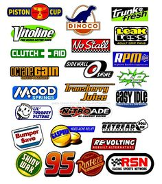 FREE Disney Cars Logos including Dinoco, Piston Cup, Rusteze, Leak Less, Tow Cap, No Stall, Tank Coat, Fiber Fuel, Mood Springs, Clutch Aid, Vitoline, Nitroade, Shiny Wax, Octane Gain, Gasprin.