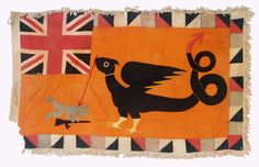 "Fante Asafo Flag  Circa: First half 20th century Origin: Ghana Material: cotton applique Condition: Tears, stains, good Dimensions: 39"" x 61"""
