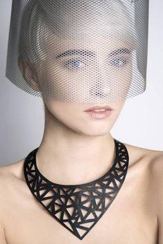 Negro vegano tubo interno collar  reciclado interno por MorganaCrea