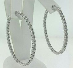 "Authentic Natural Diamond XL hoop earrings 7.25tcw 14k white gold 1.75"" NWOT WOW #Unbranded #Hoop"
