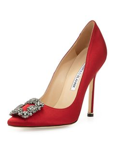Manolo Blahnik Hangisi Satin Crystal-Toe Pump, Red