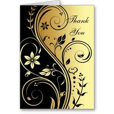 Gold & Black Floral Scroll Elegant Thank You Card