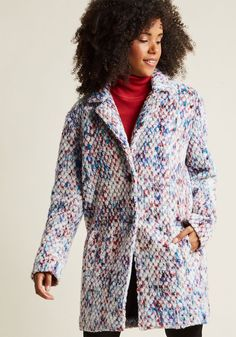 Confetti Chic Coat in L - Trap out the cold air with this long coat by Steve Madden! Looking like the queen of the chilly weather wonderland with pockets and a blue, purple, red, and black speckled pigment to its geometric-textured wooly material, you'll go about winter your way.