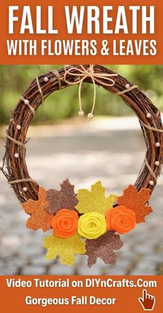 This rustic fall grapevine wreath is a beautiful addition to your porch! Fabric flowers and sparkling leaves are perfect in fall colors! This rustic farmhouse style wreath is a great addition to your mantle or front porch. #Wreath #GrapevienWreath #FallWreath #FrontPorch #FallDecor