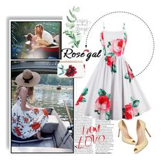 """""""Flower Print Sleeveless A Line Sundress"""" by annasal ❤ liked on Polyvore featuring Casadei, Oscar de la Renta and vintage"""