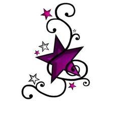 Verziert violette Stern Tattoo