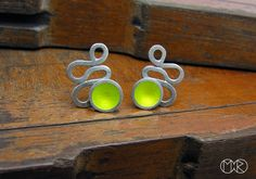 lovely green and silver earrings by marta rudnicka