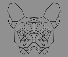 Das Gesicht eines Französisch Bulldog (Frenchie), die ich entworfen und dann in Adobe Illustrator mit klaren Linien in einem geometrischen Herren repliziert. • Also buy this artwork on wall prints, apparel, stickers und more.