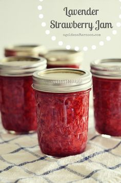 Lavender Strawberry Jam    (sources: many different recipes combined over many years of good and bad jam)    1 1/2 c. sugar    2 tsp. Pomona's Universal Pectin (found online or at natural food stores like Whole Foods)    8 cups strawberries, hulled and cleaned    2 tsp. calcium water (from the Pomona's box)    1/2 c. lemon juice, fresh squeezed    3 tsp. dried lavender blossoms, chopped