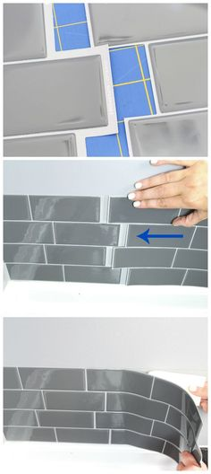Give your laundry room a makeover in just one weekend by adding a Smart Tiles' backsplash wall tile available at The Home Depot! Smart Tiles Backsplash, Vinyl Backsplash, Kitchen Wall Tiles, Kitchen Backsplash, Backsplash Ideas, Diy Tuiles, Laundry Room Design, Laundry Rooms, Laundry Closet