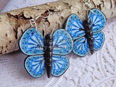 Голубая бабочка из полимерной глины, фото