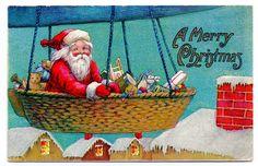 Vintage Christmas Clip Art - Santa Riding Airship - The Graphics Fairy