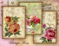 Vintage Rose  digital collage sheet  set of 8  by bydigitalpaper