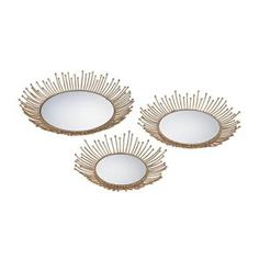 Titan Lighting Loop 17 in. x 17 in. and 15 in. x 15 in. Mirror and Gold Leaf Decorative Trays (Set of 2)-TN-892893 - The Home Depot