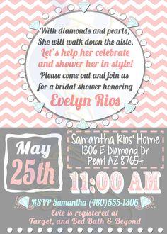 Printable Bridal Shower Invitation Pink chevron Pearl diamonds