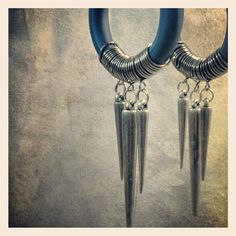 Fakers - Leather and Spikes  - Earrings for Stretched Lobes - Faux Gauges on Etsy, $28.00