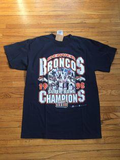 Vintage Denver Broncos NFL Football 1998 Super Bowl 33 Champions T-Shirt by VintageVanShop on Etsy