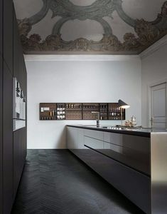 Modern minimal kitchen in black and white with beautiful ornate contrasting style ceiling