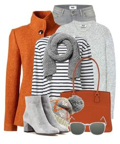 """Orange, Grey & Stripes"" by brendariley-1 ❤ liked on Polyvore featuring Paige Denim, Lands' End, Acne Studios, T By Alexander Wang, Monki, Hermès, Barbour, Gianvito Rossi and Komono"