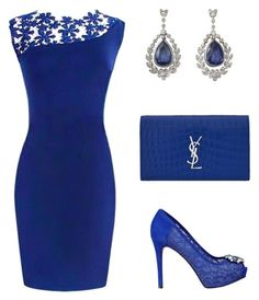 """Royal Blue"" by mimidress on Polyvore featuring GUESS and Yves Saint Laurent"