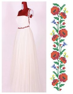 Cross Stitch Floss, Cross Stitch Charts, Cross Stitch Patterns, Embroidery Fashion, Embroidery Dress, Beaded Embroidery, Traditional Wedding Dresses, Traditional Outfits, Romanian Wedding