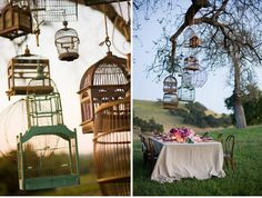 Love the suspended wooden bird cages for a Safari Wedding