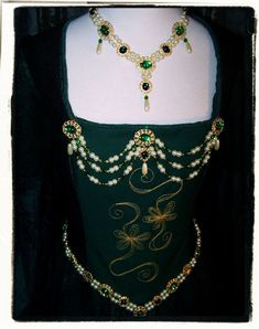 Complete Set Custom Made Tudor Renaissance Necklace Girdle Bodice Jewels and Earrings. $150.00, via Etsy.