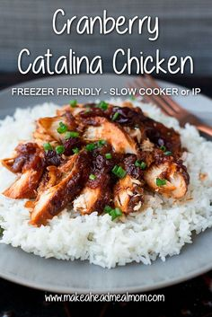 Three ingredients is all it takes to make this amazing Cranberry Catalina Chicken! Prep in advance (no pre-cooking), freeze, then pull out later when needed! Cooks in the slow cooker or Instant Pot! Best Freezer Meals, Chicken Freezer Meals, Slow Cooker Freezer Meals, Make Ahead Meals, Slow Cooker Chicken, Slow Cooker Recipes, Chicken Recipes, Crockpot Ideas, Freezer Cooking