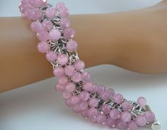 Pink beaded chainmaille bracelet Chainmaille by TheArmorersWife