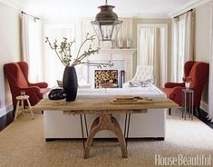 pop of red in a rusticky beach-housey room.
