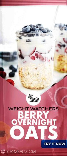 his easy Blueberry Overnight Oats recipe is the perfect make ahead breakfast. - his easy Blueberry Overnight Oats recipe is the perfect make ahead breakfast. Ingredients c - Oats Recipes, Ww Recipes, Healthy Recipes, Healthy Meals, Snack Recipes, Healthy Eating, Weight Watcher Overnight Oats, Cold Oats, Blueberry Overnight Oats