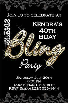 Bling Birthday Party Invitations - Get these invitations RIGHT NOW. Design yourself online, download and print IMMEDIATELY! Or choose my printing services. No software download is required. Free to try!