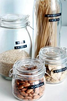 02 food containers with labels from IKEA jars - Shelterness Kitchen Jars, Kitchen Pantry, Kitchen Decor, Glass Kitchen, Kitchen Storage, Kitchen Ikea, Kitchen Styling, Mason Jars, Glass Jars