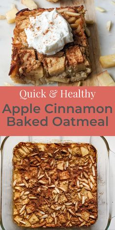 Apple Cinnamon Baked Oatmeal is a healthy meal prep breakfast that is made with whole ingredients and only takes 30 minutes! #fallbreakfast #bakedoatmeal #applecinnamon