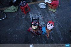 kids wear the marks during the YayKyaw festival at Yangon.