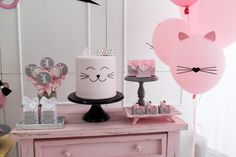 Birthday Cake For Cat, 2nd Birthday Party Themes, Hello Kitty Birthday, Birthday Diy, Birthday Party Decorations, Girl Birthday, Kitten Party, Cat Party, Cake For Boyfriend