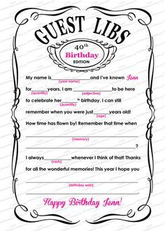 Guest Mad Libs Adult Birthday Printable 5 X 7 Customized