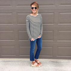 cropped denim, espadrille wedges, sales, stripes