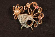 Rooster, Rhinestones,  Faux Pearl, Vintage Brooch. $18.00, via Etsy.