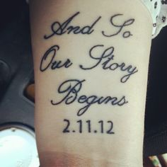 My First Tattoo!! Its a quote from the video game Fable II and my Wedding Date - scroll script and typewriter numbers