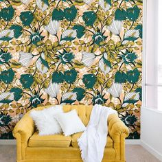 East Urban Home This Marta Barragan Camarasa Tropical Autumnal Bloom Wall Mural is sure to take your space to the next level. Each wall mural is composed of multiple woven polyester fabric panels. Size: L x W Accent Wallpaper, Trellis Wallpaper, Wallpaper Panels, Wallpaper Roll, Peel And Stick Wallpaper, Peach Wallpaper, Wallpaper Designs, Bathroom Wallpaper, Wallpaper Ideas
