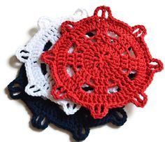 Hey, I found this really awesome Etsy listing at https://www.etsy.com/listing/162172479/crochet-dishcloth-trio-red-white-blue