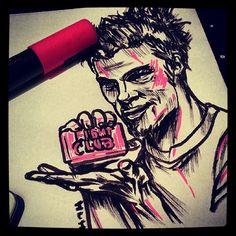 Tyler durden/brad pitt Fight Club - Sketch N Kustom Design   Mark Bernard's Website
