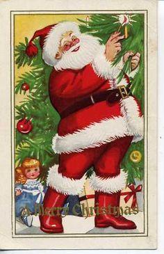 Vintage Christmas Postcard Santa Claus Red Robe Tree | eBay
