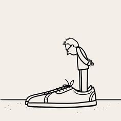That feeling when you have big shoes to fill Line Art Tattoos, Dad Tattoos, Matt Blease, Tattoos For Dad Memorial, Line Illustration, Illustrations, Animation Sketches, In Memory Of Dad, Shoes Too Big