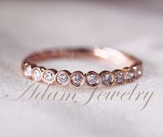 Stackable Bezel Diamonds 14k Rose Gold Wedding Ring/ Promise Ring/ Diamonds Ring/  Engagement Ring/  Half Eternity Band on Etsy, $290.00... This is cute