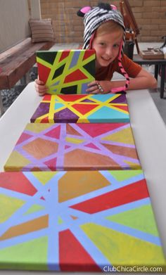 Tween easy modern art painting using painters tape by Club Chica Circle.