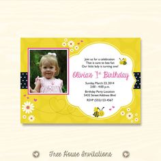 Baby's First Birthday  Bumble Bee Theme  by TreeHouseInvitations, $10.00