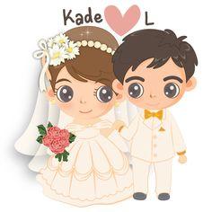 Bride And Groom Cartoon, Wedding Couple Cartoon, Love Cartoon Couple, Cute Love Cartoons, Anime Love Couple, Wedding Couples, Cute Couples, Bride Clipart, Barbie Drawing